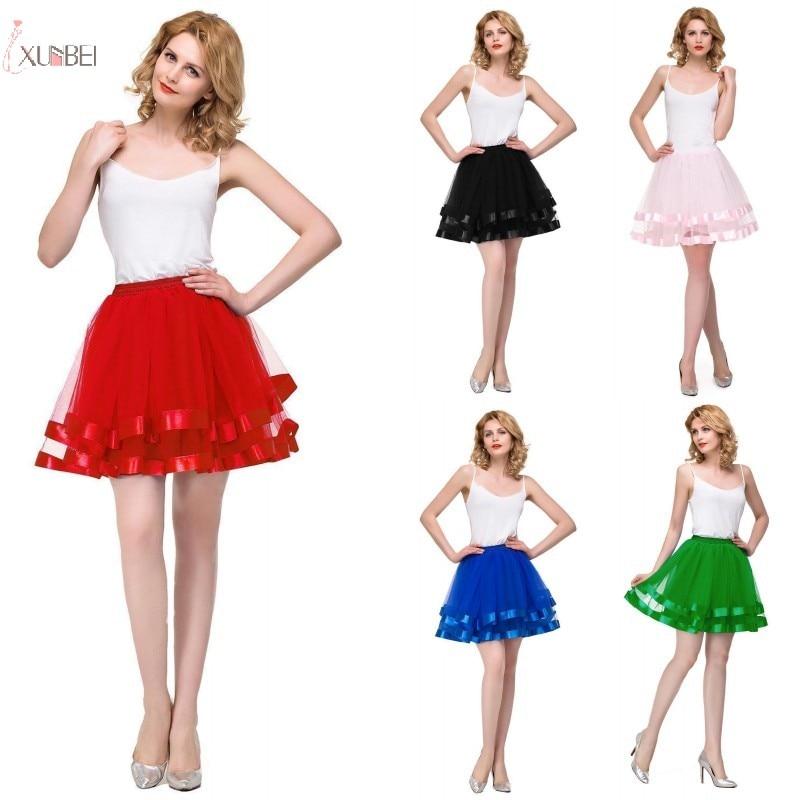 White Black Red Short Tulle Wedding Bridal Petticoat Crinoline Woman Tutu Skirt Wedding Dress Underskirt Wedding Accessories