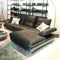 Pequeno sofá dérmica cabeça camada de couro Coreano pequena sala de estar da família é contratada e contemporânea três combinação canto s