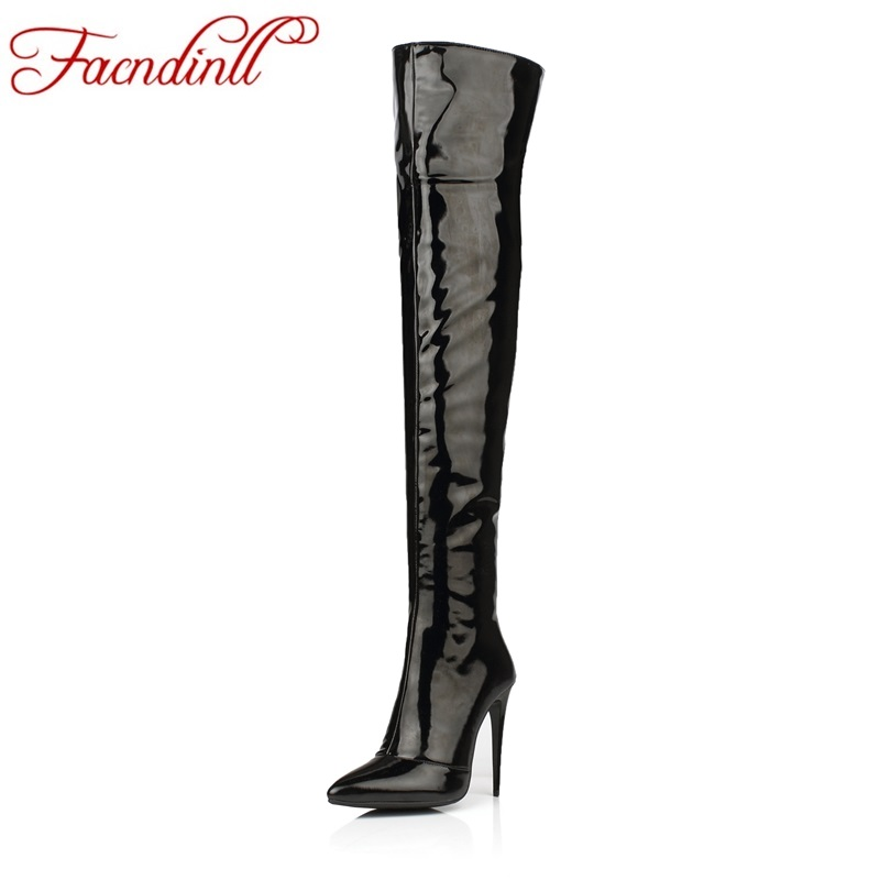 FACNDINLL high quality women long boots 2017 new patent leather black red dance boots sexy thick high heels over the knee boots xjrhxjr new red black women patent