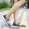 Autumn New Women Flat Casual Shoes 9 Colors Mujer Hand Woven Women shoes Sneakers Fashion Stretch Woven Belt Lightweight  Loafer