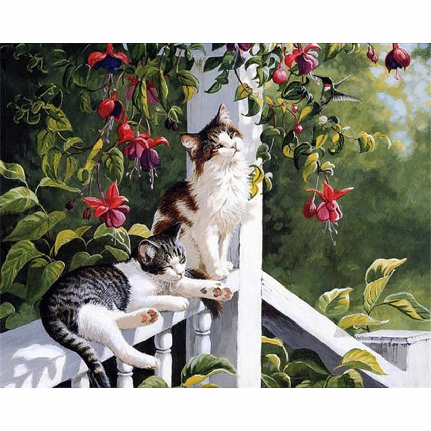 DIY Digital Painting By Numbers Package Showy cat oil painting mural Kits Coloring Wall Art Picture Gift frameless