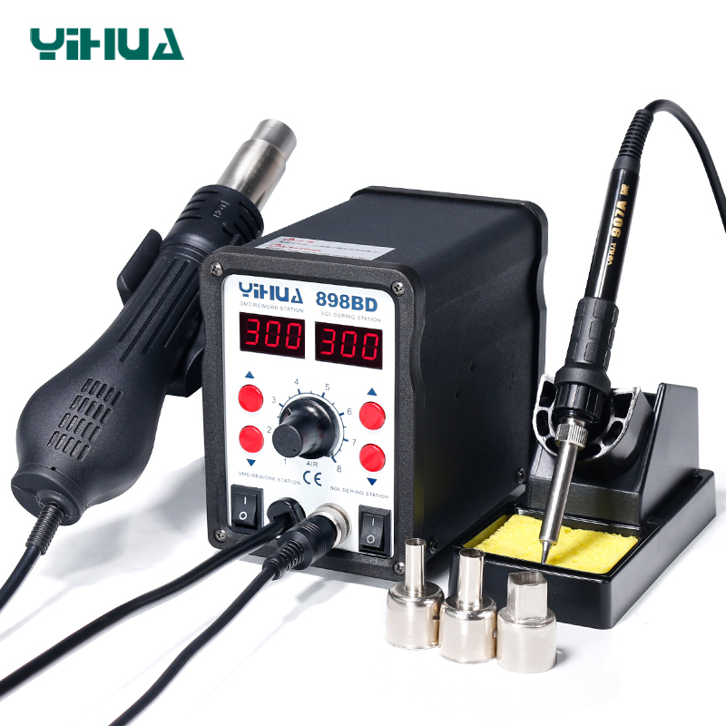 YIHUA 898BD Stable Temperature Control Heat Gun Air Soldering Station And Iron For Phone Repair stable