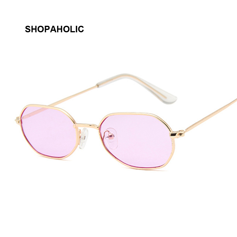 Small Pink Hexagon Sunglasses For Women Luxury Brand Designer Eyewear Shades Ladies Alloy Mirror Sun Glasses Female UV400