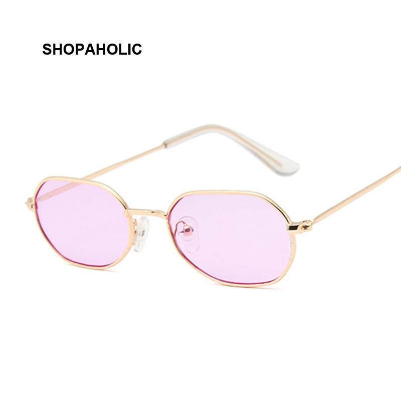Small Pink Hexagon Sunglasses For Women Luxury Brand Designer Eyewear Shades Ladies Alloy Mirror Sun Glasses Female UV400