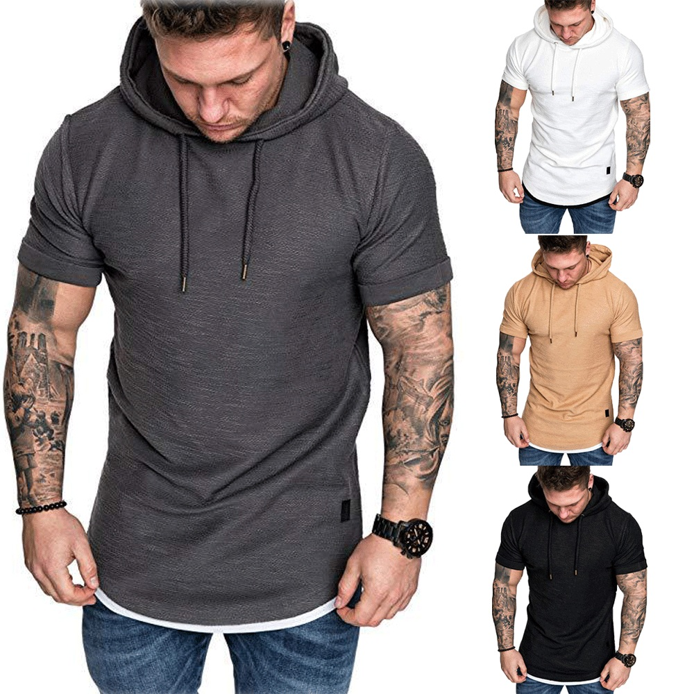 New Fashion Men Hoodies Short Sleeve Tee Solid Mens Casual Hooded Summer Male Fashion Top Plus US Size M-2XL 2019 Hot