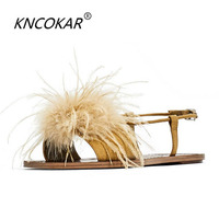 KNCOKAR2018Spring and summer new real leather with feather flat shoes on holiday in Roman sandals woollen women's shoes students
