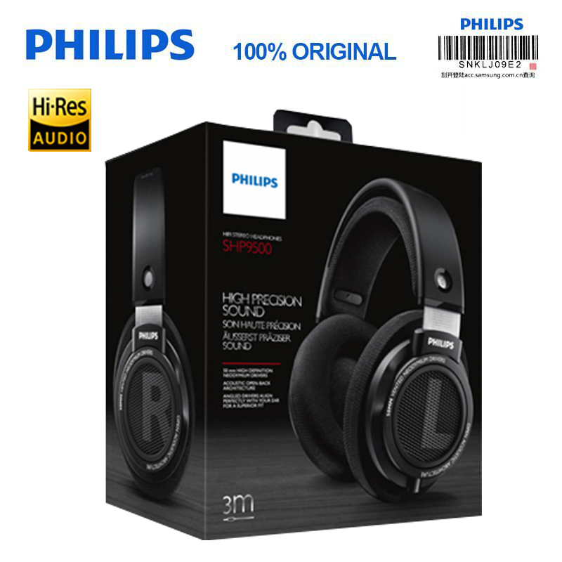 Philips SHP9500 fever HIFI computer phone headsetwith Active Noise  Cancelling 3 meter long headset for Xiaomi MP3 Headphones