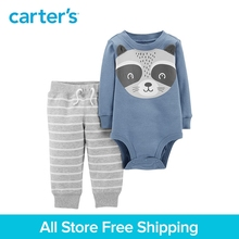 2pcs cotton Long sleeves cute raccoon bodysuit easy-on French terry pants set Carter's baby boy spring autumn clothing 121I555