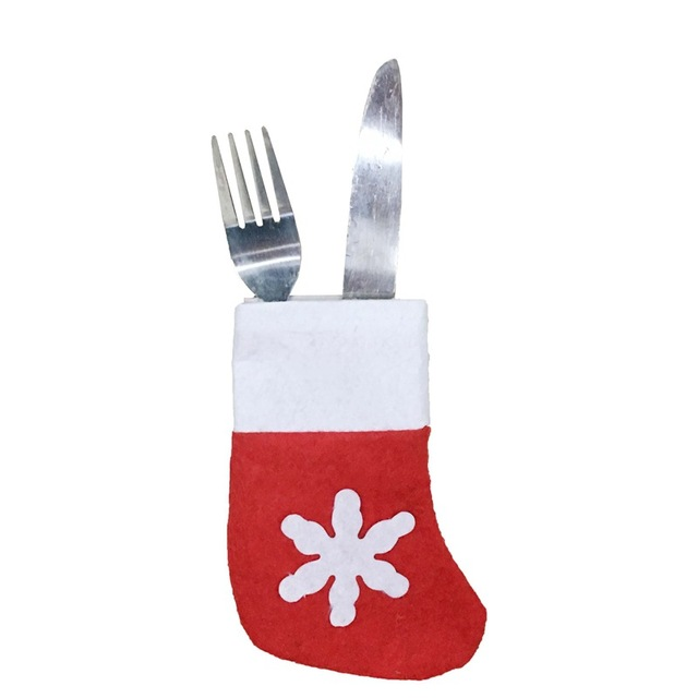 8Pcs/Set Fancy Santa Christmas Socks Decorations Silverware Holders ...