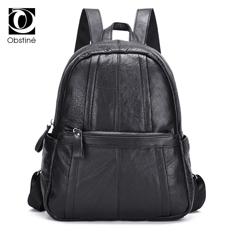Genuine Leather Backpack Women High Quality Real Cow Leather Backpacks for Girls Fashion Black Bagpack Large Ladies Daypack Bags real leather backpack 100% genuine leather women satchel cow leather patchwork backpacks schoolbag for teenage girls rivet bags