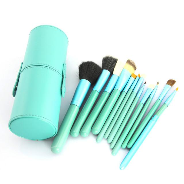 12 unids verde pinceles de maquillaje cosmético del sombreador de ojos de madera herramientas + GreenHolder caso maquillaje Maquiagem pincéis