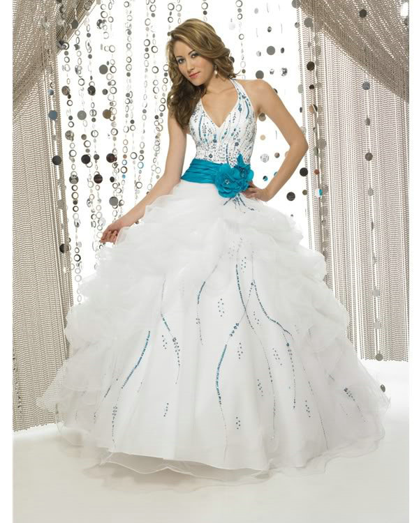 Popular Blue White Quinceanera Dresses-Buy Cheap Blue White ...