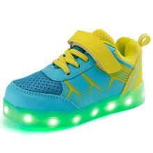 Mode Enfants LED Lumineux shoes garçons fille USB de charge shoes casual enfants lumineux shoes marque sport shoes pour garçons taille 25-37