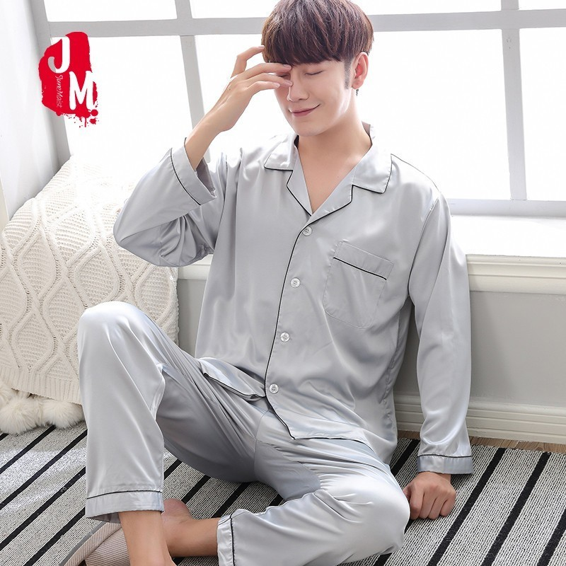 2018 Silver Solid Satin Men Pajama Sets Long Sleeve Autumn Silk Sleepwear For Men Suit Pijama Man Summer Two-Piece Pyjama L-XXXL