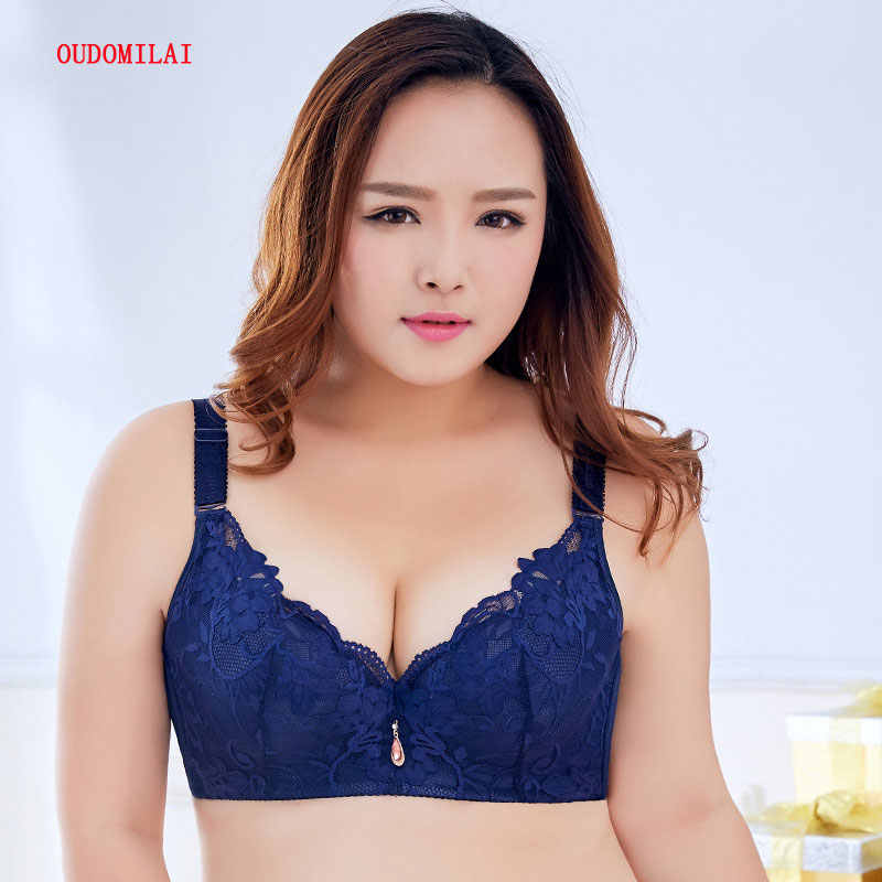 471c99f0a4f OUDOMILAI 34-50 C D E Cup Plus Size Brassiere thin Lace Flowers Large  breasts Big Size