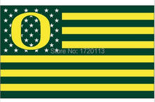 Oregon Ducks logo flag with us stars stripes 3ftx5ft Banner 100D Polyester Flag metal Grommets