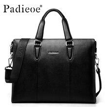 Padieoe Marca Nueva moda bolsos de cuero genuino de los hombres de negocios de la cartera de alta calidad bolsa de mensajero de los hombres de cuero negro 51ZP01