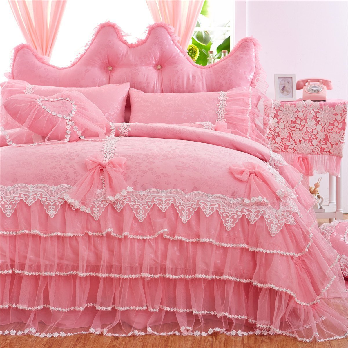 WINLIFE Pink Lace Ruffle Bedding Set Korean Princess Bowknot Duvet Cover Sets Queen 7PCS 4PCS