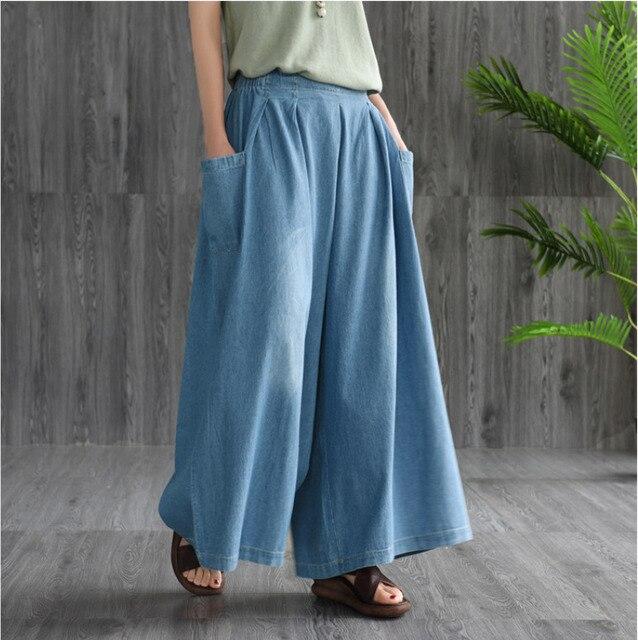 Pantalon Denim Vintage Nouveau Élastique Femmes Fille Mori Jeans Été Dames Poche Lâche Décontracté 2019 Grande Taille ChQxtrBsd