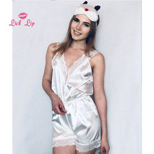 f8e0c3c96875 Lick Lip Sexy Lace Onesies For Adults Shorts Sleepwear Jumpsuit Pajamas  Romper Satin Women White Pyjama Night Suits SWC3364-47