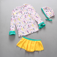UPF50 Girls Swimwear Two Pieces Rash Guards Floral Printed Long Sleeve Sun Protective Girl's Swimsuit Children Kids Bathing Suit