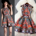 Palace Style Diamond Beaded Printed Party Dress Women Spring Stand Collar Sleeveless A-line Dresses Elegant Jacquard Sundress