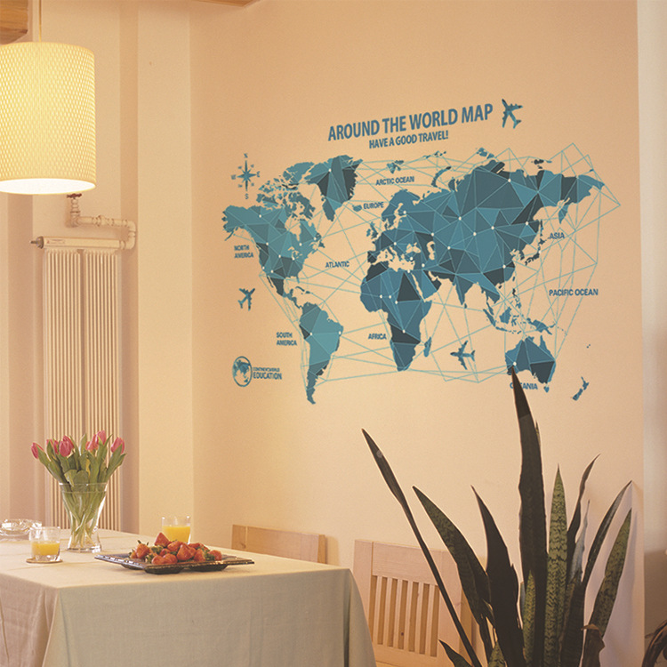 Creative Map World Science Technology Origami Map Blue Wall Stickers ...