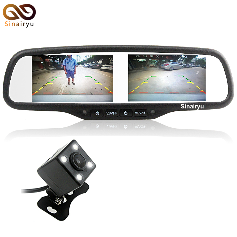 2 in 1 4.3 Dual 800*480 Screen Car Rearview Mirror Monitor with 4 LED lights Car Reverse Rear View Parking Camera Night Vision carpc monitor auto computer monitors 7inch led touch screen monitor with vga and 2av av2 reverse camera for car pc