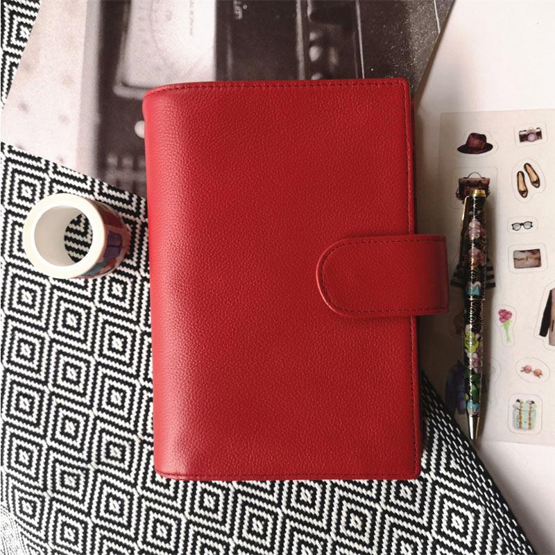 Yiwi anneaux en cuir véritable cahier A6 taille en laiton classeur Mini Agenda organisateur en cuir de vachette Journal carnet de croquis planificateur poche
