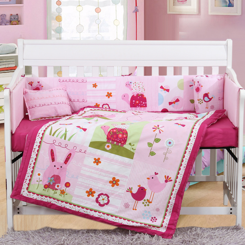7PCS Embroidery 100% Cotton KiT Cot Sheet Baby Bedding Set Product Infant Cartoon Quilt ,include(bumper+duvet+sheet+pillow)