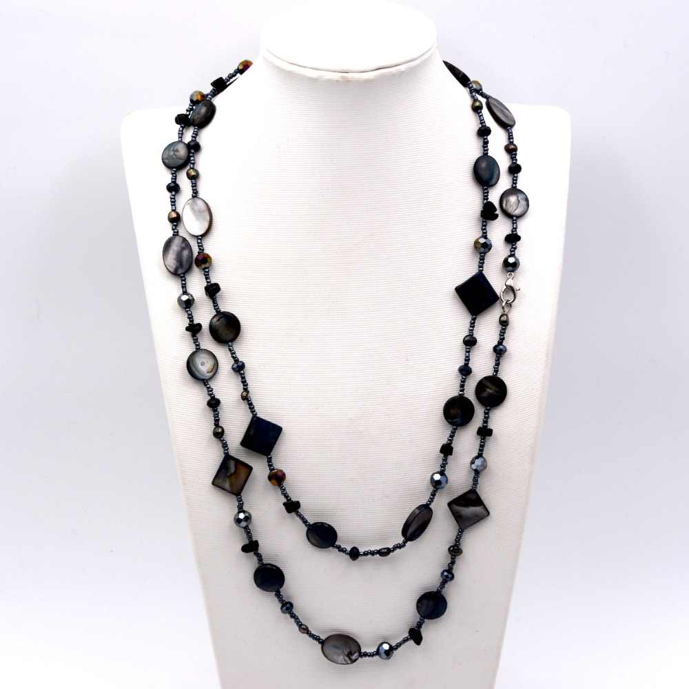 2019 Lady Women Black Pearl Seed Bead Shell Long Sweater Necklace Fashion Jewelry Gift