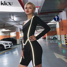 Kliou women one shoulder playsuit 2019 Reflective striped patchwork rompers female fashion skinny bodysuit night party clothes(China)