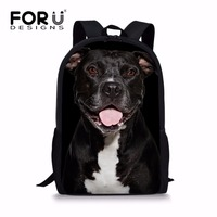 FORUDESIGNS Unisex Printing Black Dog Backpack For Kids Hard Elementary Student Boys Girls Travel Bagpack Mochila
