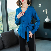 2019 Spring New Fashion Irregular 100% Real Silk Shirt Luxury High End V neck Women Blouses and Tops Purple and Blue Color C36