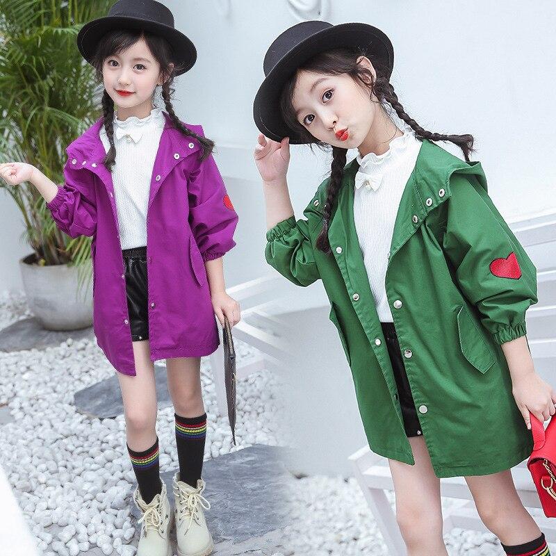 Лидер продаж куртка для девочек 2018 Корейская версия из Новый стиль весна/осень модная одежда для девочек длинный плащ пальто свободные сладкий повседневная куртка