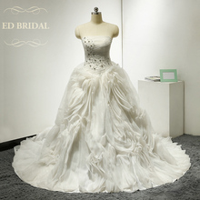 Organza Ruffle Ball Gown Wedding Dress with Handmade Beaded Flowers China Bridal Gowns robe de mariee vestido de noiva