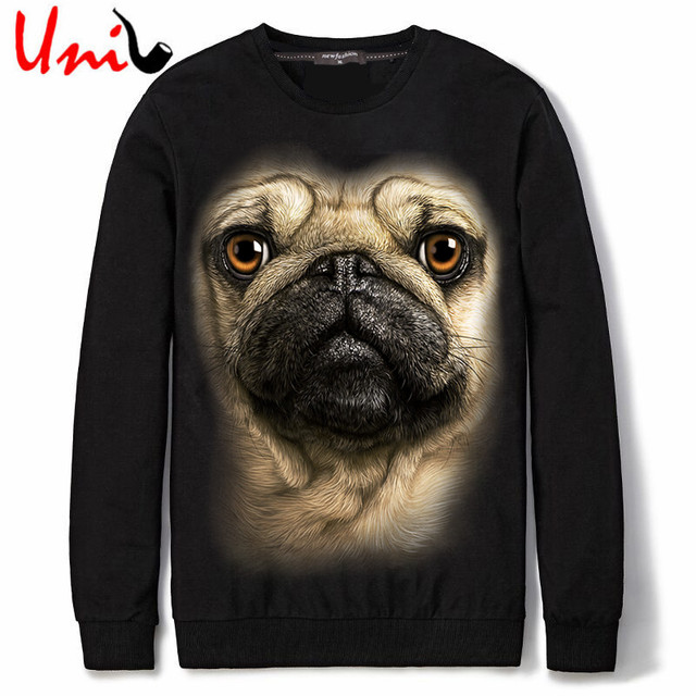 Uni-Splendor 2016 Autumn SharPei Dog Printed Men Funny XXXL Hoodies Animal Casual Cotton Thin Mens Sweatshirts Male Hoodie YN811