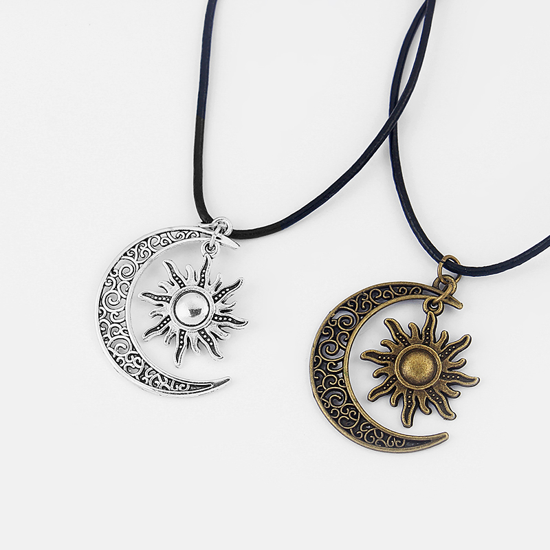 1pcs Antique Crescent Moon/Sun Charm Pendant Real Leather End Lobster Clasp Necklace For Boho Hippy 18″+2″Chain