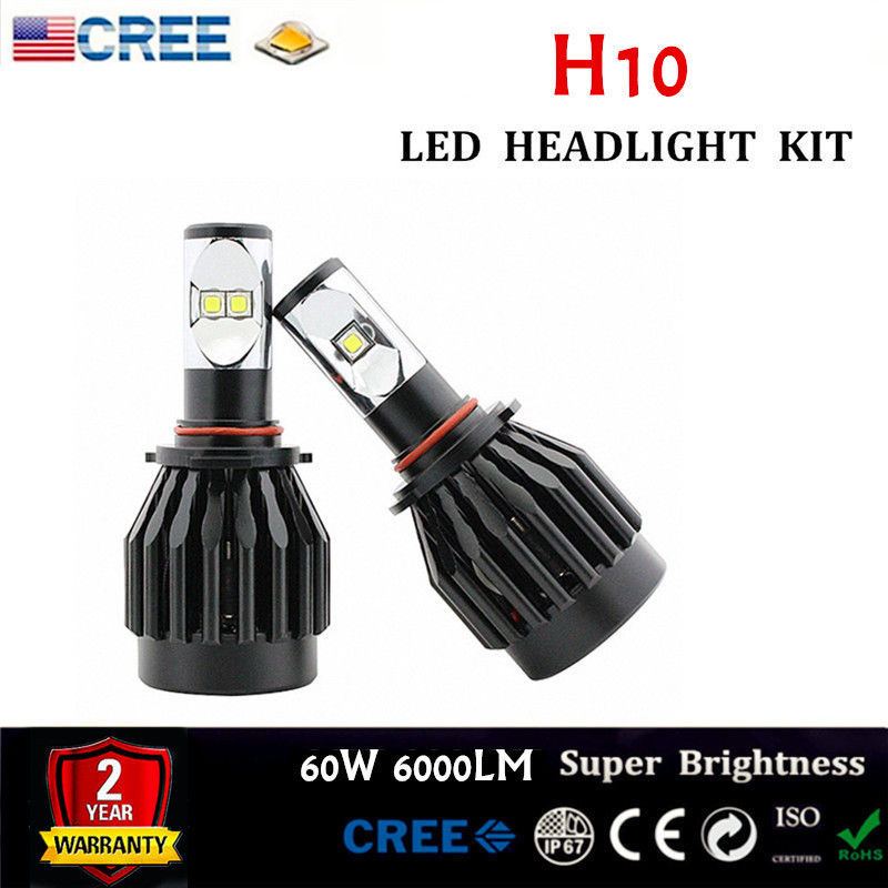 Plug&Play CREE XML2 Chips H10 60W 6000LM LED Foglamp Headlight Conversion Kit 6000K White All In One Replaces HalogenHID Bulbs