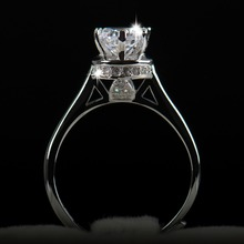 2016 New Arrival Fashion adjustable Ring 5A Cubic Zirconia Real 925 Soild silver rings for female women engagement and wedding