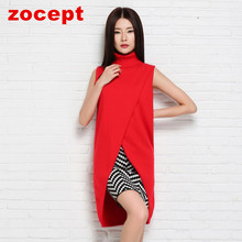 zocept 2016 Spring New Women's Clothing Cashmere Blend Long Vests Women Winter Outerwear Female Turn-down Collar Pullover Coats