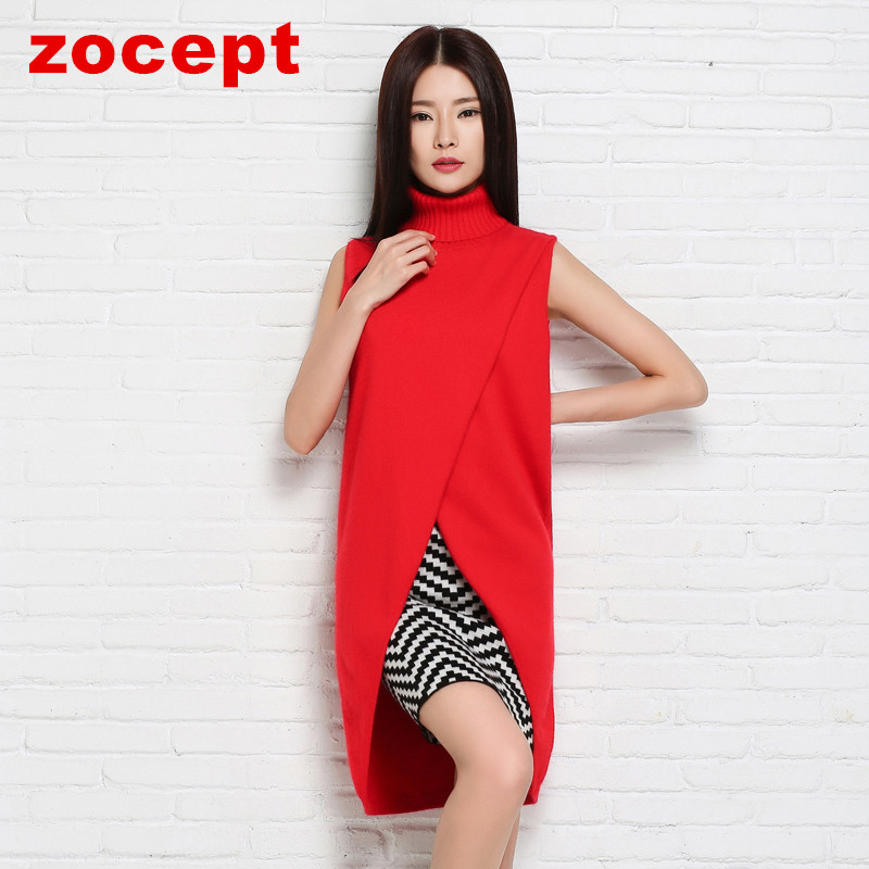 zocept Spring New Women's Clothing Cashmere Blend Long Vests Women Winter Outerwear Female Turn down Collar Pullover Coats