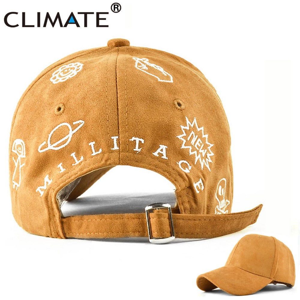CLIMATE Fashion Suede Baseball Caps New Sun Embroidery Unique Winter Autumn Spring Hip Hop Adjustable Hat Women Adult Girls Lady