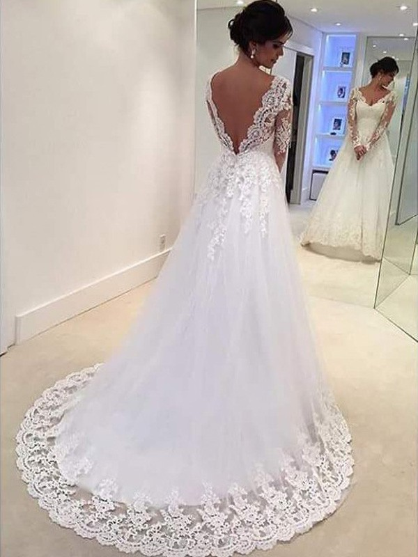 Muslim Wedding Dress Long Sleeves Backless Boho Wedding Dresses With Appliques White Bohemian Wedding Gowns Plus Size 2019