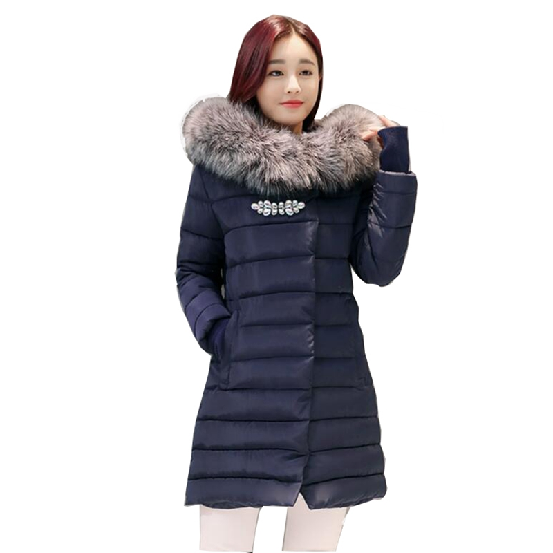 2017 New Winter Jacket Women Long Slim Large Fur Collar Hoodie Women Down Cotton Jacket Thick Female Wadded Coat Plus Parkas 2017 new winter jacket women long slim large fur collar hooded down cotton parkas thick female wadded coat plus size 4xl cm1373