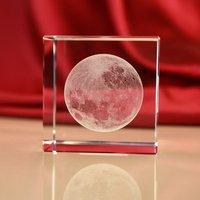 JQJ Cristal En Verre Cube Lune Presse-papiers Clair Rare feng shui 3D Laser Gravure Figurines miniatures Pour La Maison De Mariage Décor