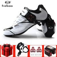 Tiebao road men ciclismo sapatos adicionar pedal conjunto de ciclismo bicicleta de corrida de bicicleta auto-bloqueio tênis atlético profissional