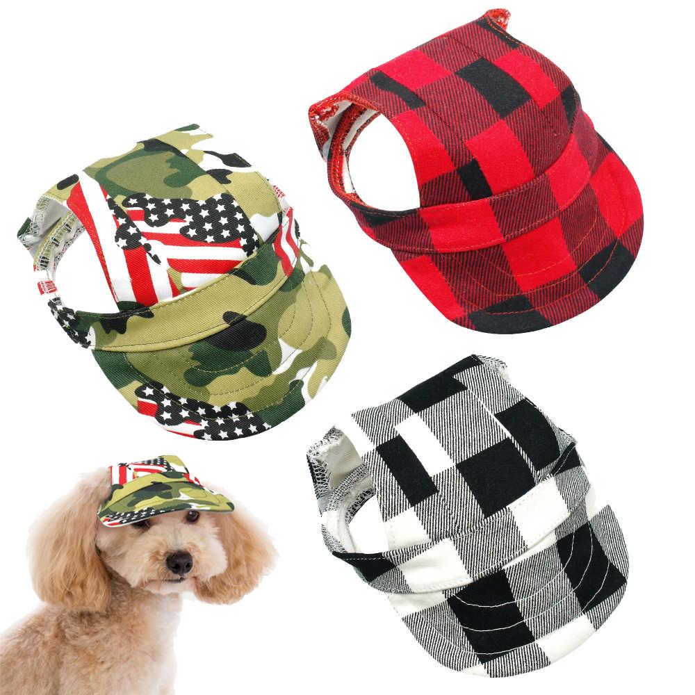 4eb54cbb Plaid Summer Dog Hat Breathable Baseball Sun Cap Accessories Pet ...