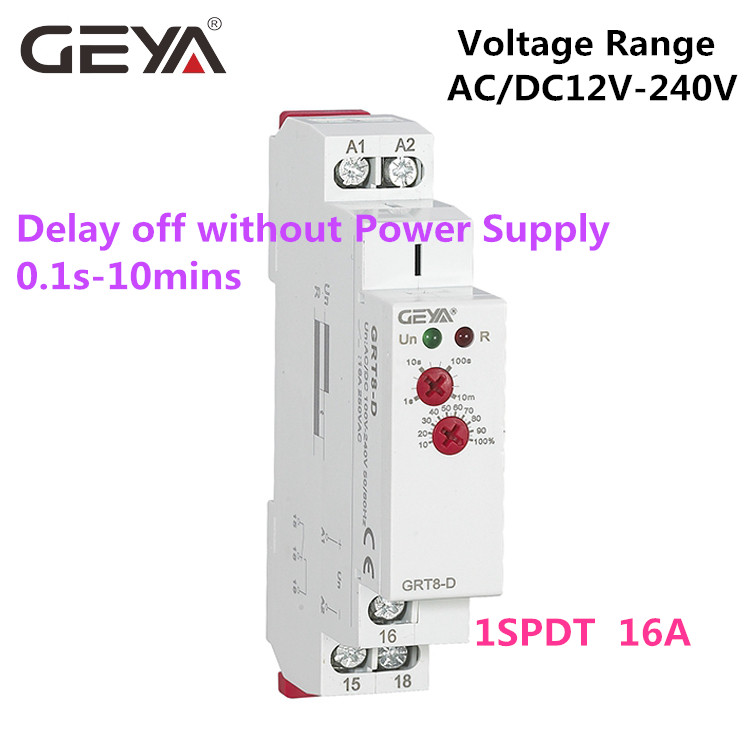 цена на 10PCS Free ShippingGEYA GRT8-D Relay Delay off without Supply Voltage AC/DC12V-240V 1 Module Time Relay 12V Timer