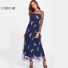 COLROVIE Bird Embroidery Mesh Maxi Dress 2017 Illusion Neck Women Long Sleeve Sexy Overlay Dress Royal Blue Holiday Party Dress
